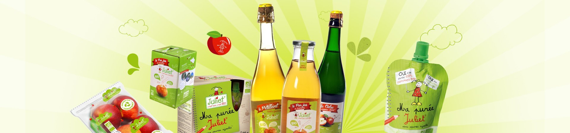 Juliet® apples product range: pure juice, ciders, applesauce, sparkling juice… It's good, it's organic!