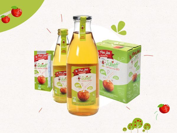 Pure organic apple juice with no added sugar